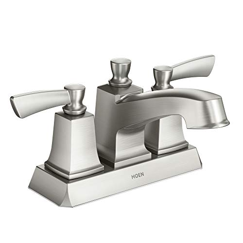 moen ws84922srn conway two handle centerset bathroom faucet with drain assembly spot resist brushed nickel