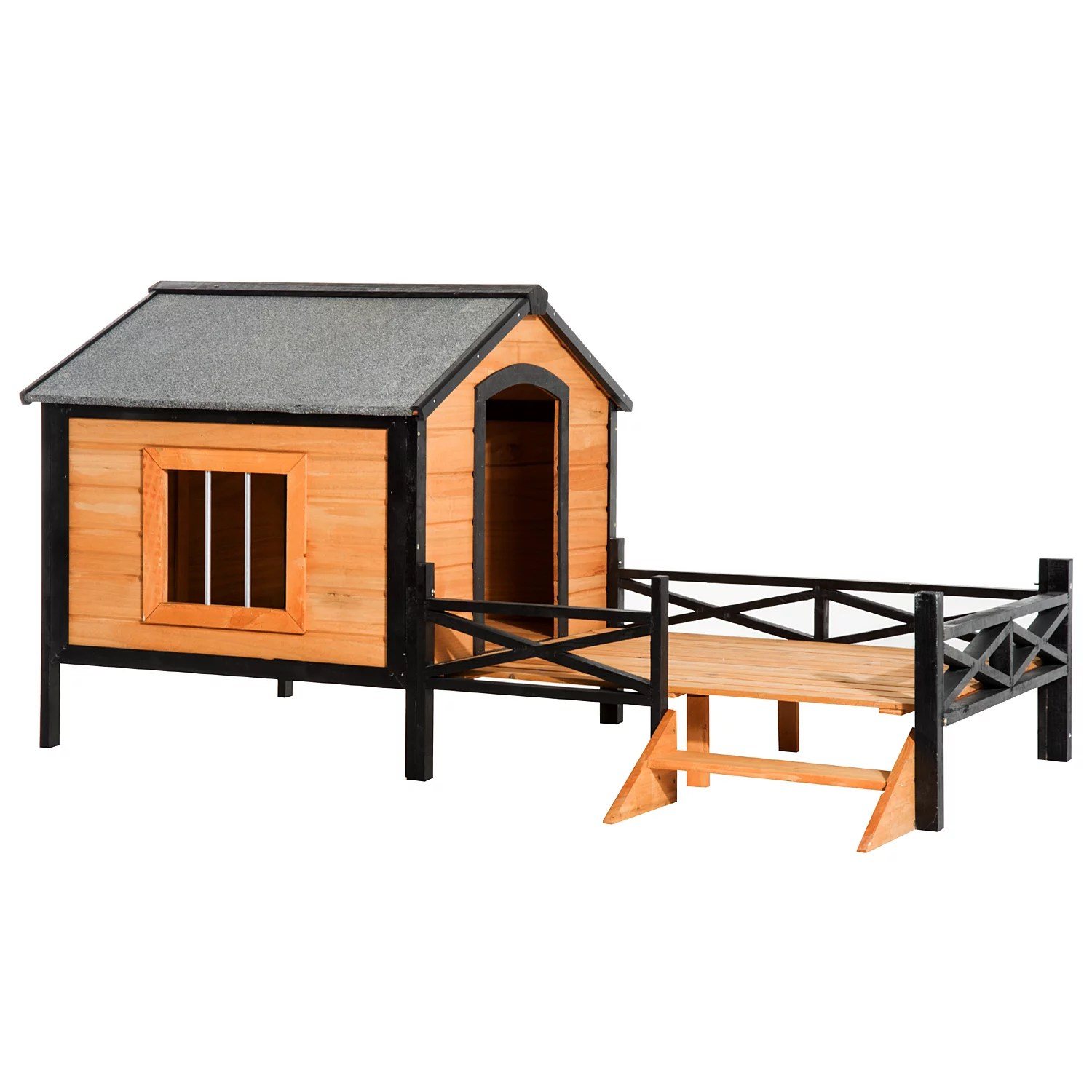 pawhut 67 large wooden cabin style elevated outdoor dog house with porch walmart com