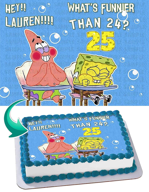 Spongebob Whats Funnier Than 24 Edible Cake Topper 11 7 X 17 5 Inches 1 2 Sheet Rectangular Walmart Com Walmart Com