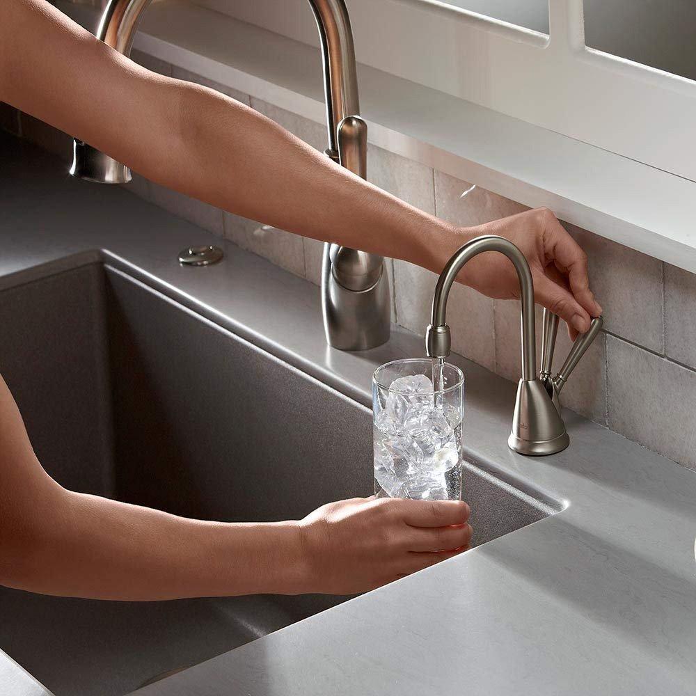 insinkerator instant hot cold 2 temperature water faucet dispenser tap chrome