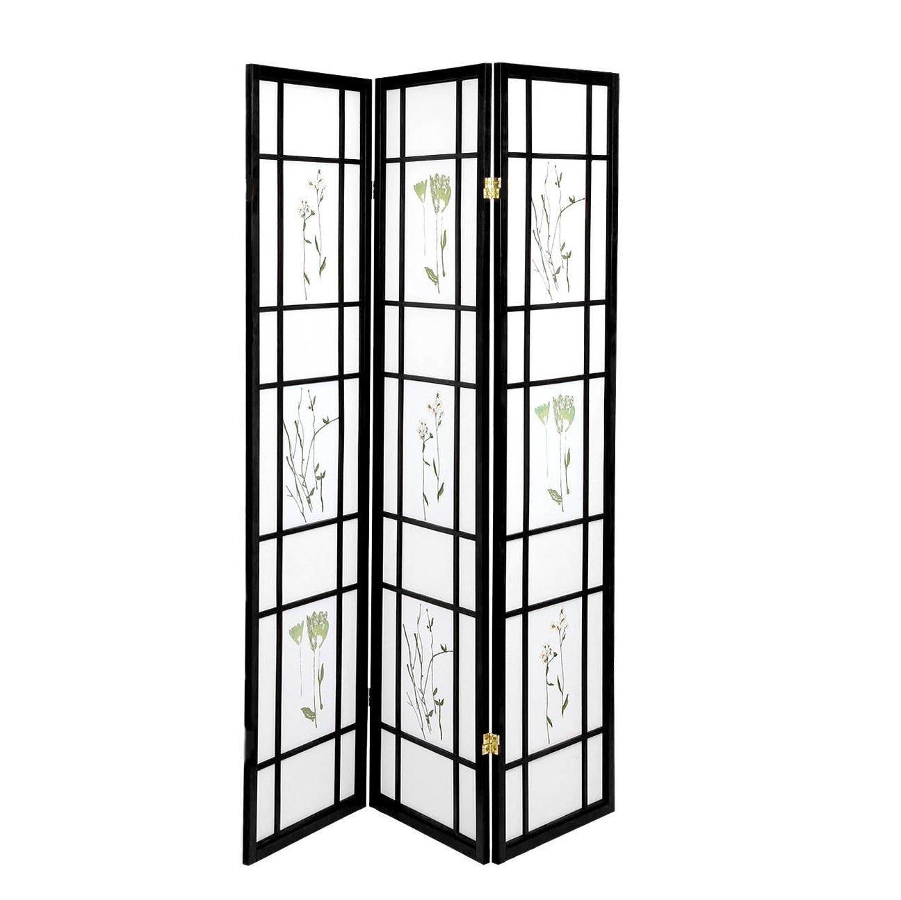 oriental room divider curtains hardwood shoji panels screen 3 panel small flowered black walmart com