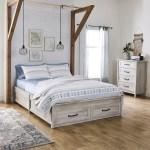 Better Homes Gardens Modern Farmhouse Queen Platform Bed With Storage Rustic White Finish Walmart Com Walmart Com