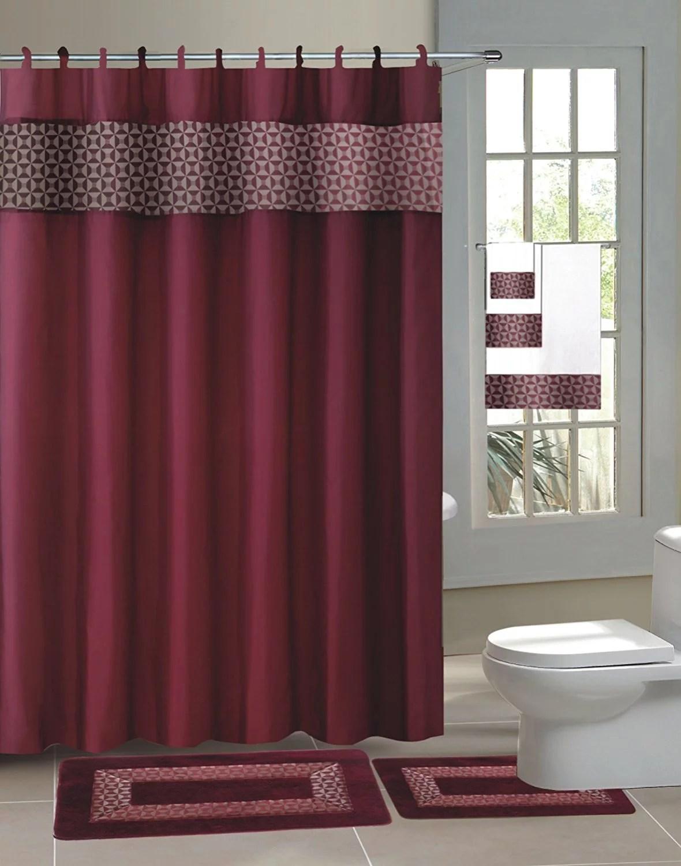 burgundy fresco 15 piece hotel bathroom sets 2 non slip bath mats rugs 1 fabric shower curtain 12 hooks