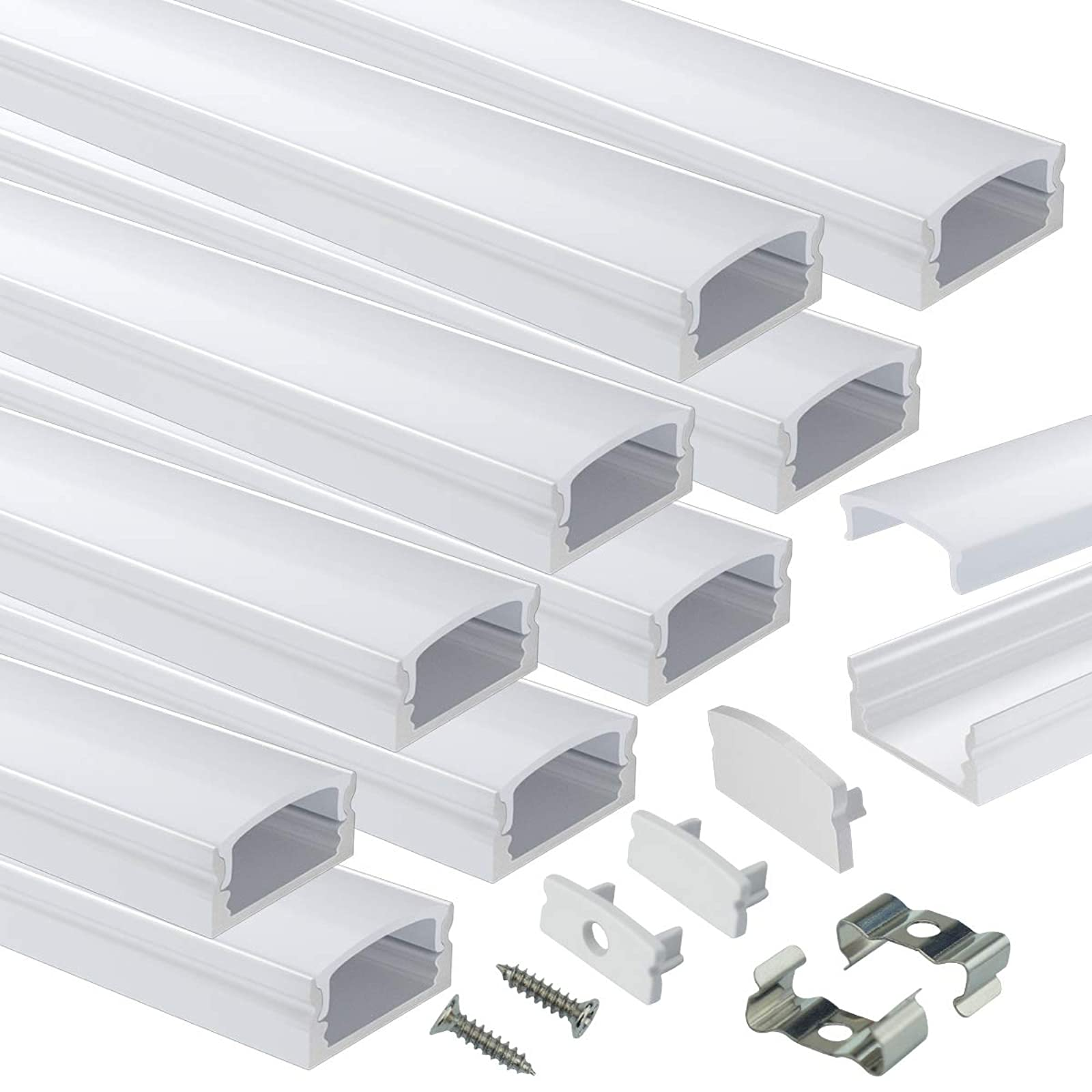 muzata led channel system with milky white cover lens silver aluminum extrusion profile housing diffuser track for strip tape light 10pack 1m 3 3ft u