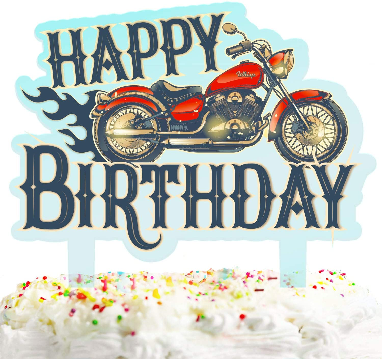 Motorbike Happy Birthday Cake Topper Decorations With Motorcycle Rider For Wheels Stag Theme Picks For Racing Bicycle Party Decor Supplies Walmart Com Walmart Com