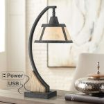 Franklin Iron Works Rustic Farmhouse Desk Table Lamp With Usb And Ac Power Outlet In Base Gray Wash Mica Shade For Bedroom Office Walmart Com Walmart Com