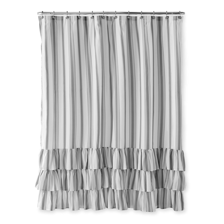 Better Homes Gardens Striped Ruffle Shower Curtain Walmart Com