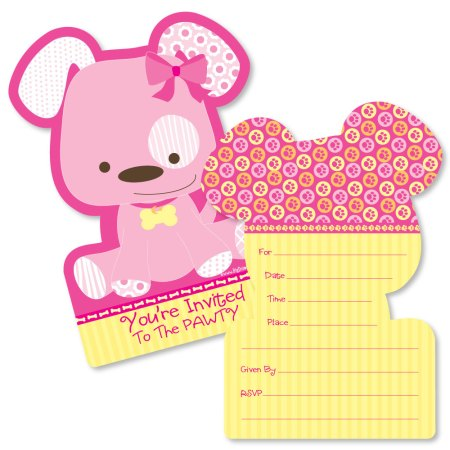 Puppy Dog Shaped Fill In Invitations Baby Shower Or Birthday Party Invitation Cards With Envelopes Set Of 12