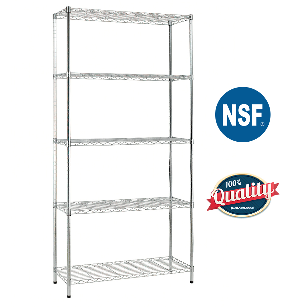 5 shelf wire shelving unit garage nsf wire shelf metal large storage shelves heavy duty height adjustable utility commercial grade steel layer shelf