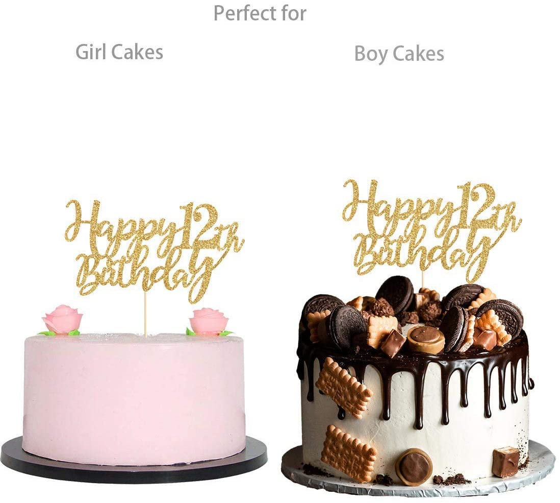 Gold Glitter Happy 12th Birthday Cake Topper Gold 12 Years Old Birthday Party Decorations Girl Or Boy Birthday Cake Toppers Walmart Com Walmart Com