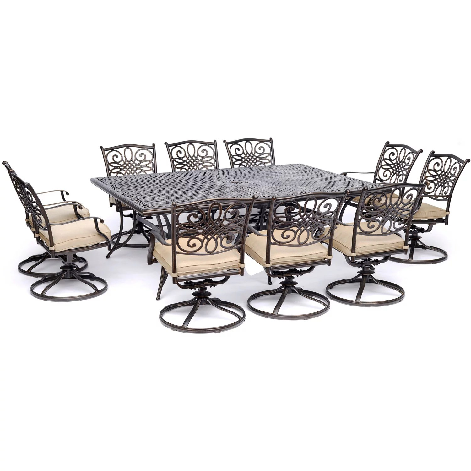 hanover traditions 11 piece outdoor dining set with cast top table and 10 swivel rockers
