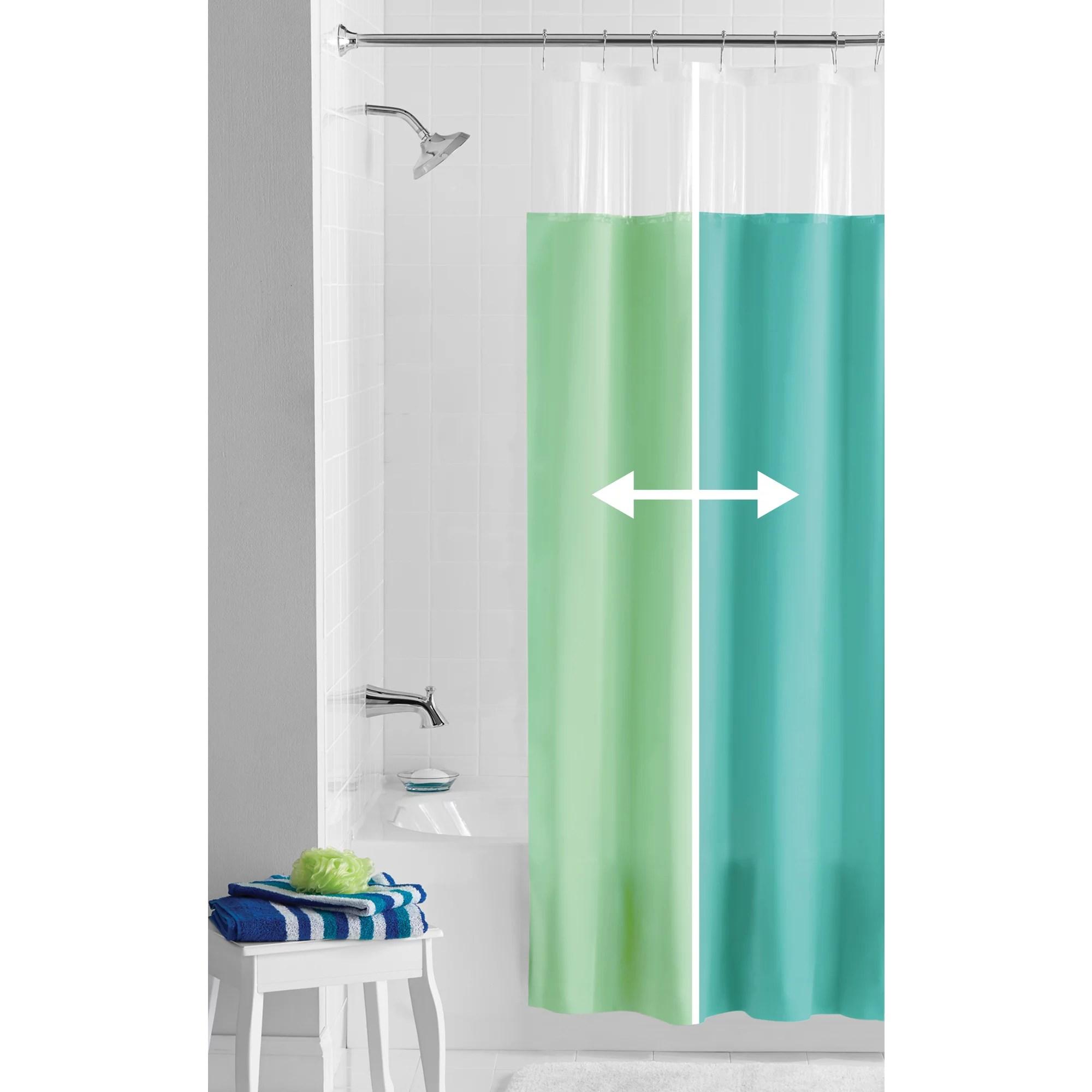 mainstays reversible blue green peva shower curtain or liner 70 x 72