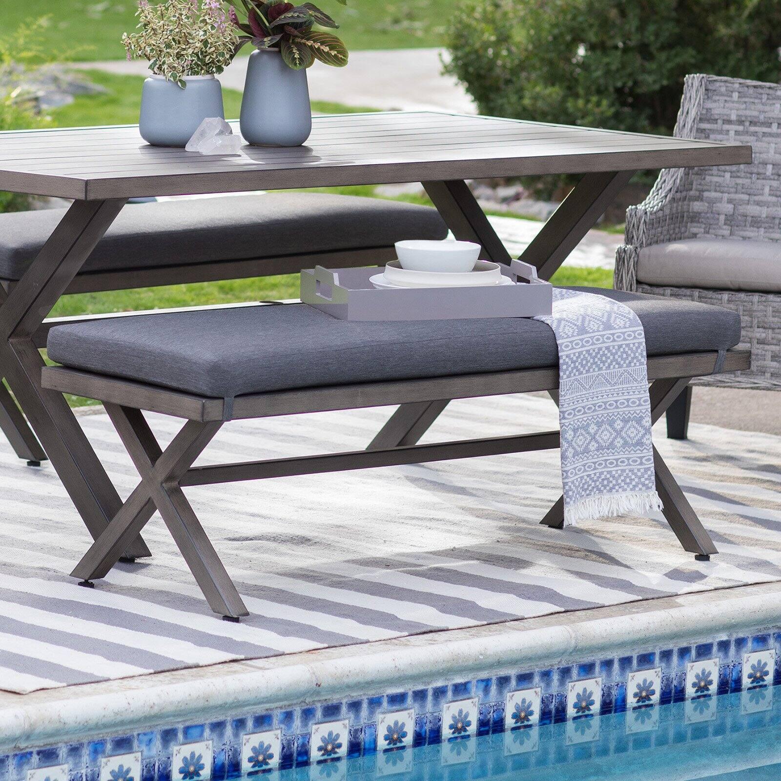 coral coast harlowton steel slat patio dining bench walmart com