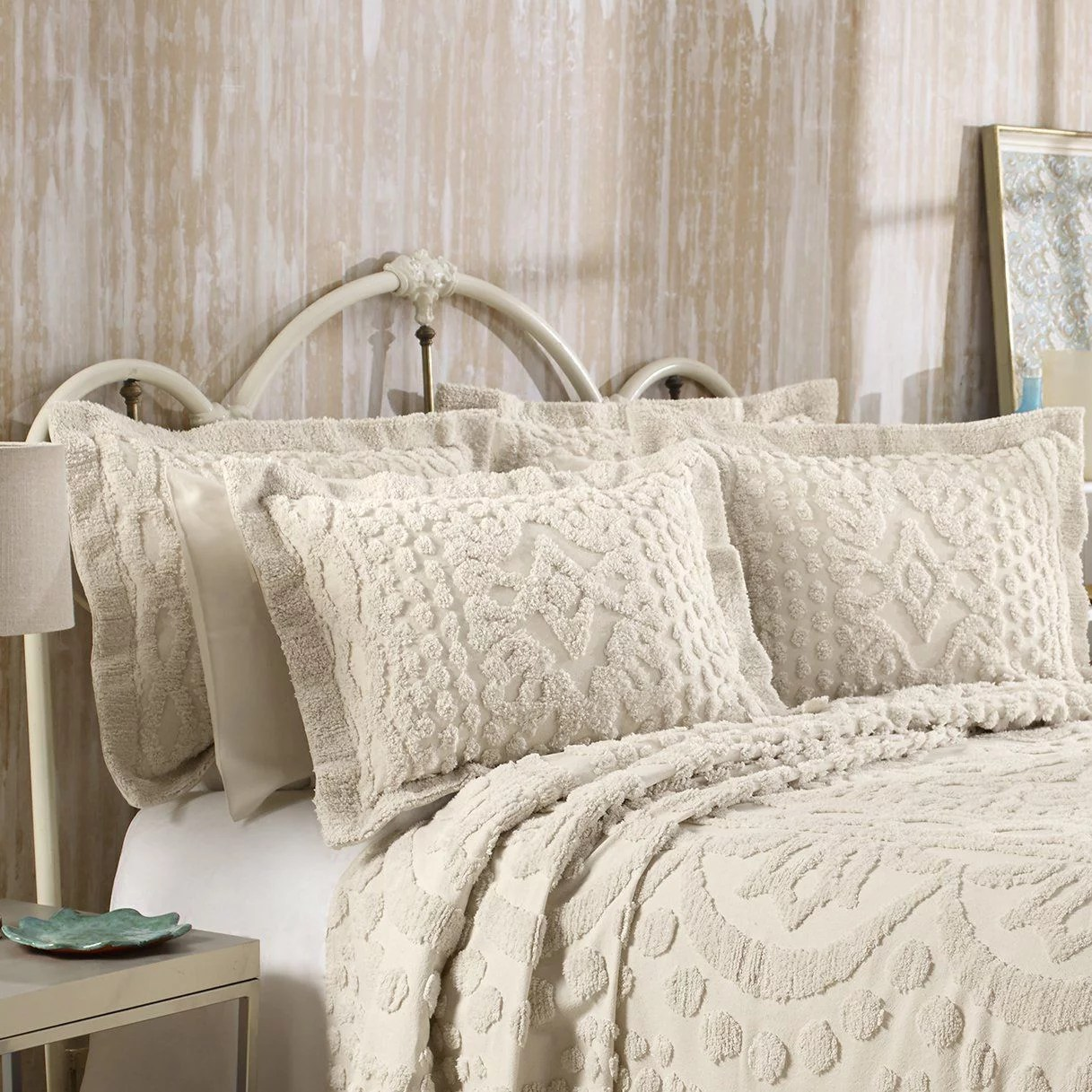 kingston tufted chenille bedspread and pillow sham set all cotton queen size beige walmart com