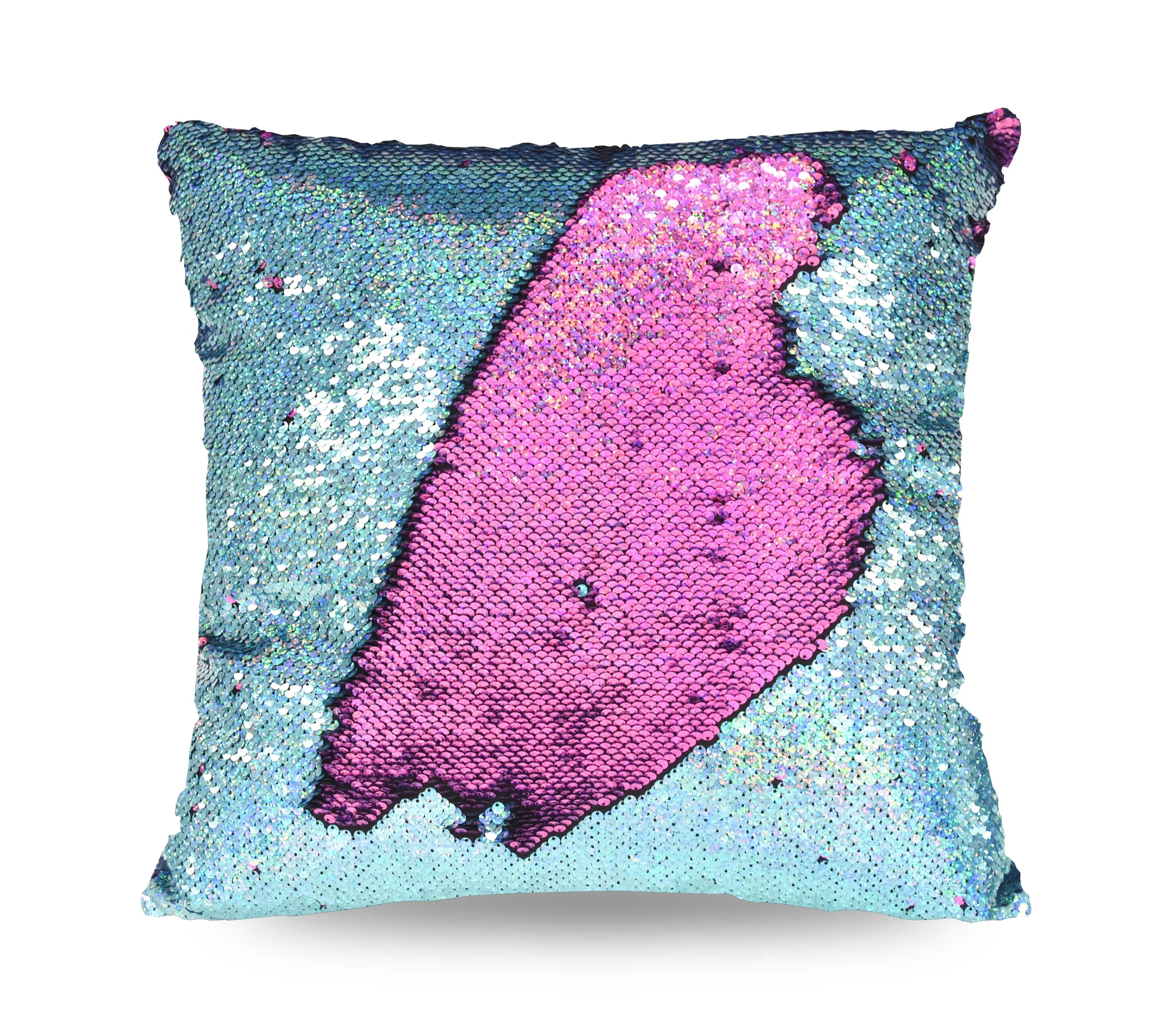 mainstays holographic reversible sequins sparkle pillow 17 x 17