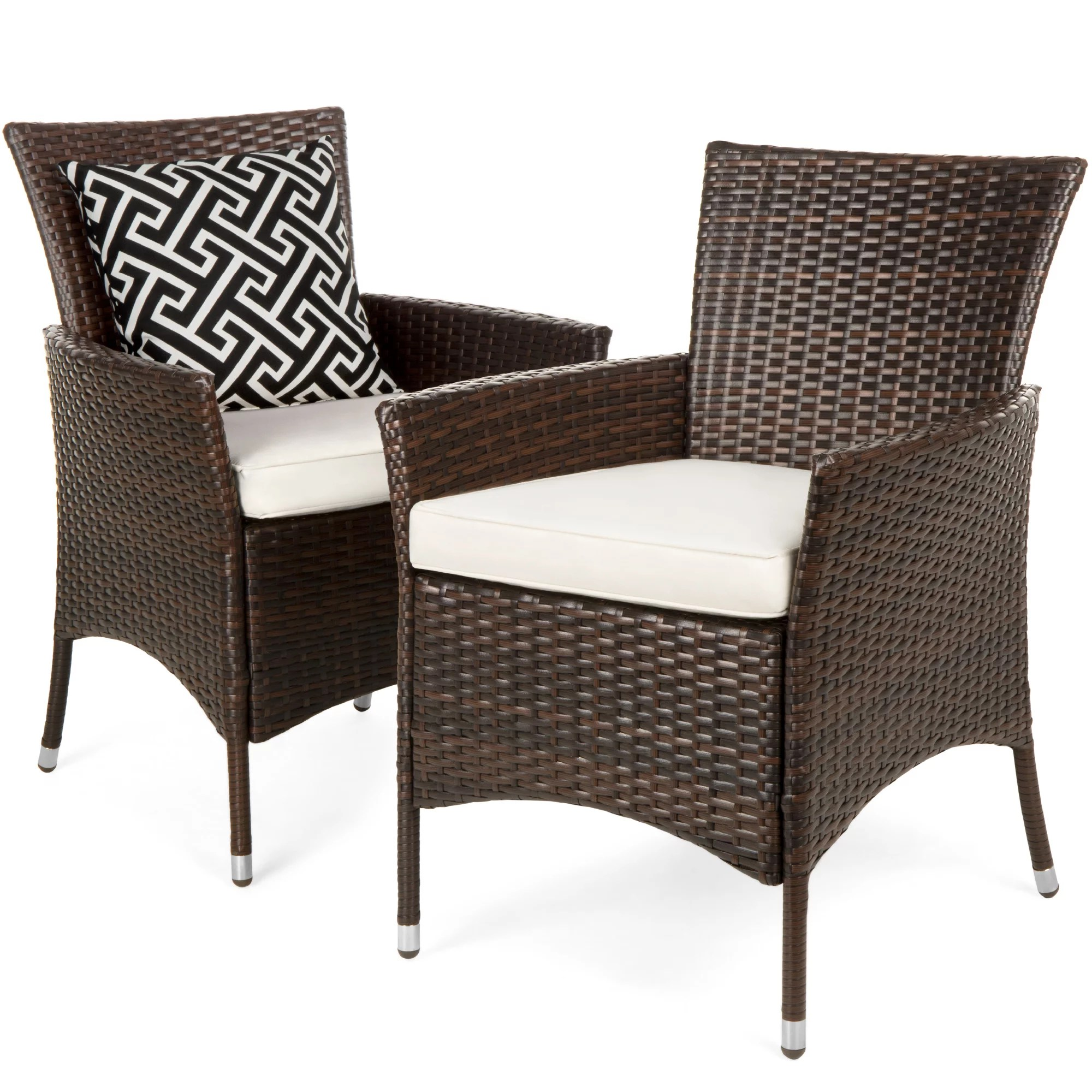 best choice products set of 2 modern contemporary wicker patio furniture dining chairs in brown w water resistant cushions