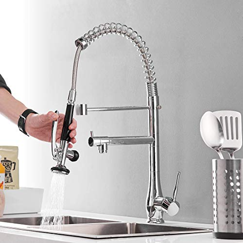 commercial pull down kitchen faucet with sprayer gimili high arch single hole single handle kitchen sink faucet black brushed nickel