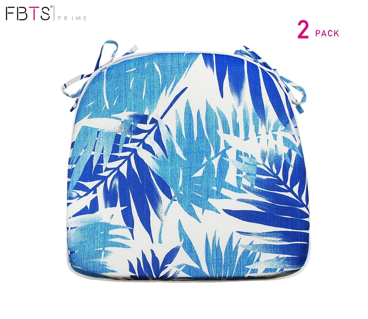 fbts prime outdoor chair cushions set of 2 16x17 inches patio seat cushions blue leaf square chair pads for outdoor patio furniture garden home