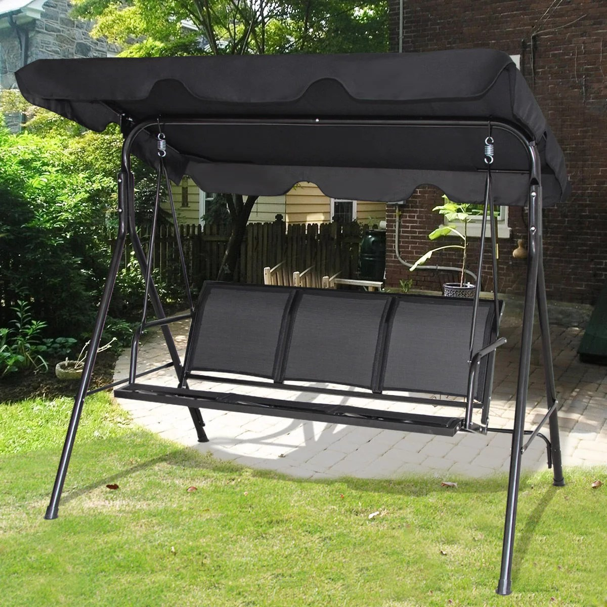 gymax black outdoor swing canopy patio swing chair 3 person canopy hammock walmart com