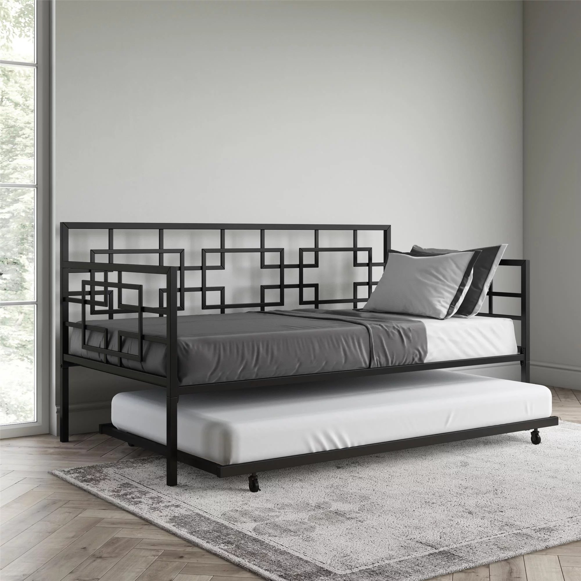 better homes gardens twin daybed with twin trundle black metal