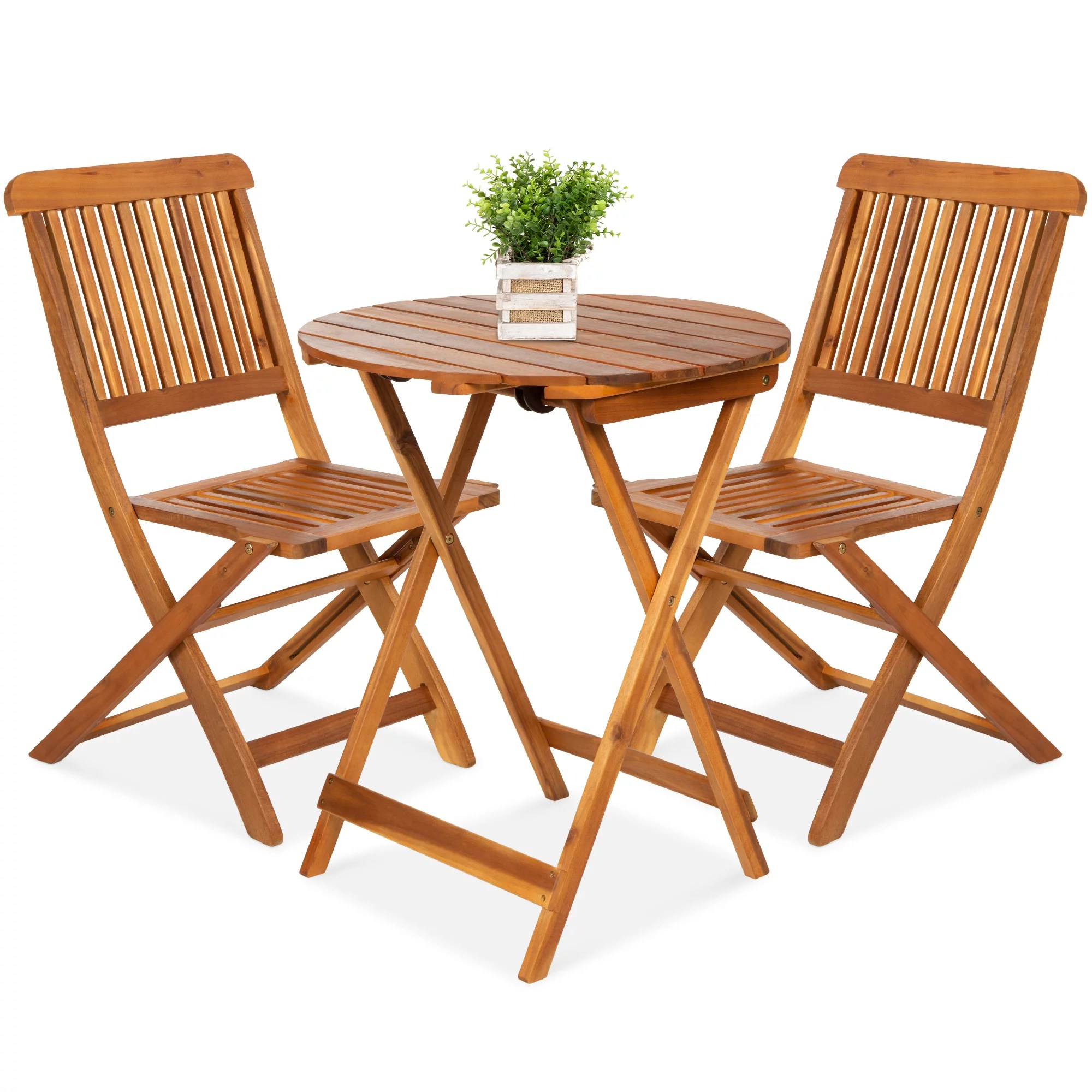 best choice products 3 piece acacia wood bistro set folding patio furniture w 2 chairs table teak finish natural