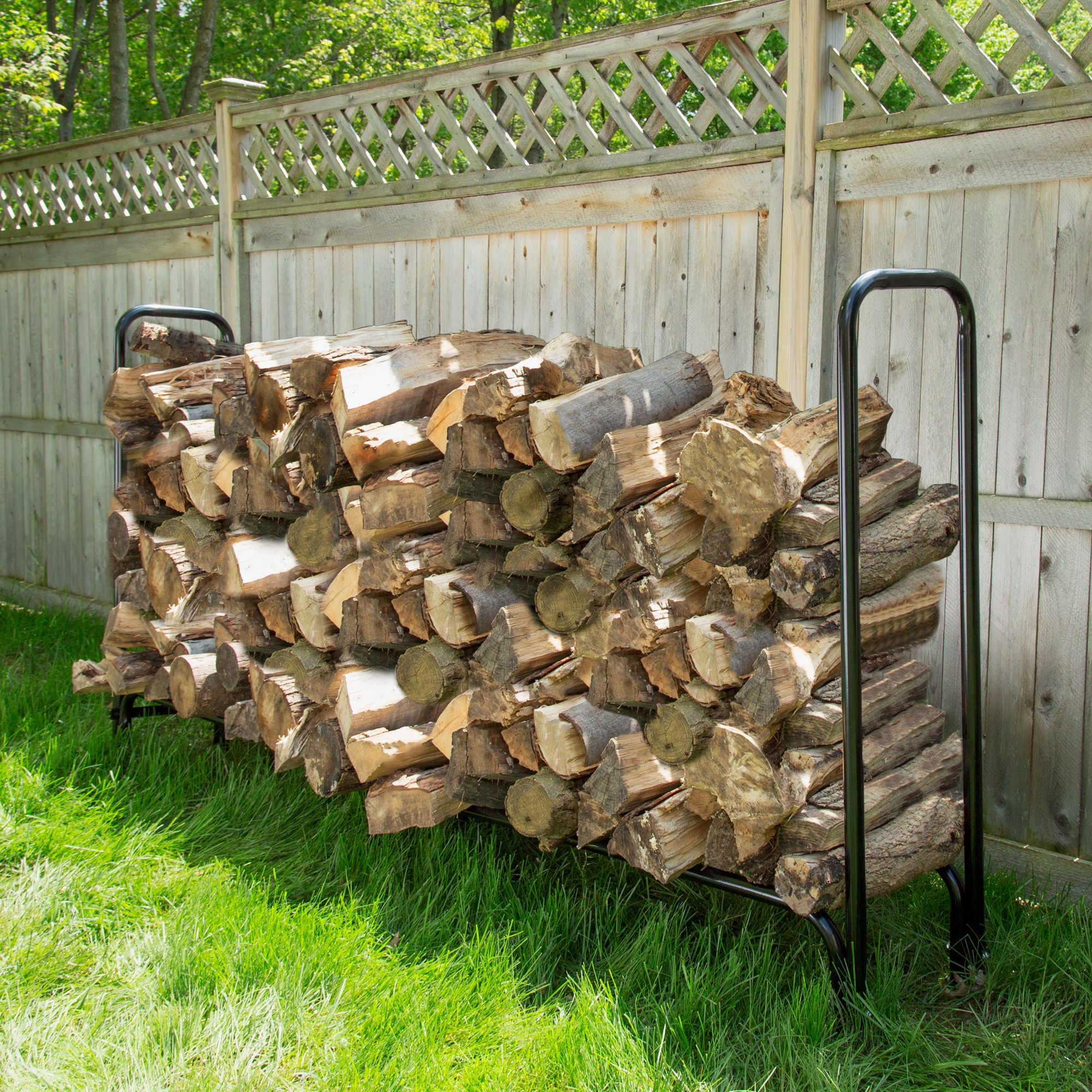 8 foot firewood log rack with cover by pure garden walmart com