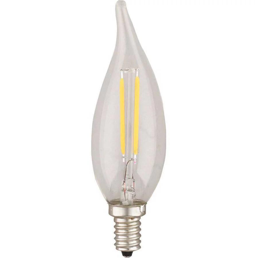 kodak 41116 led lighting 2w flame tip e12 led filament clear walmart com