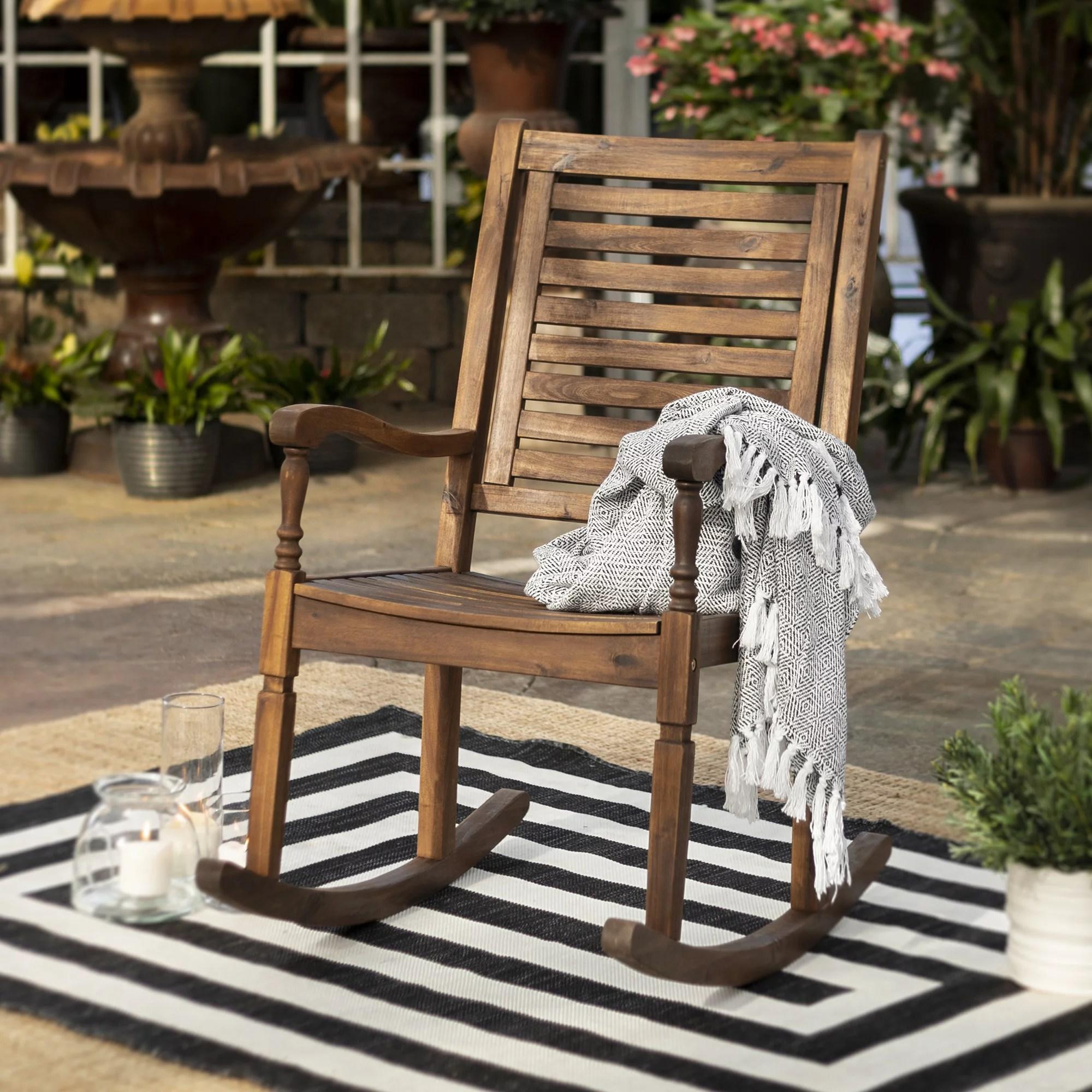 manor park solid wood outdoor patio rocking chair dark brown