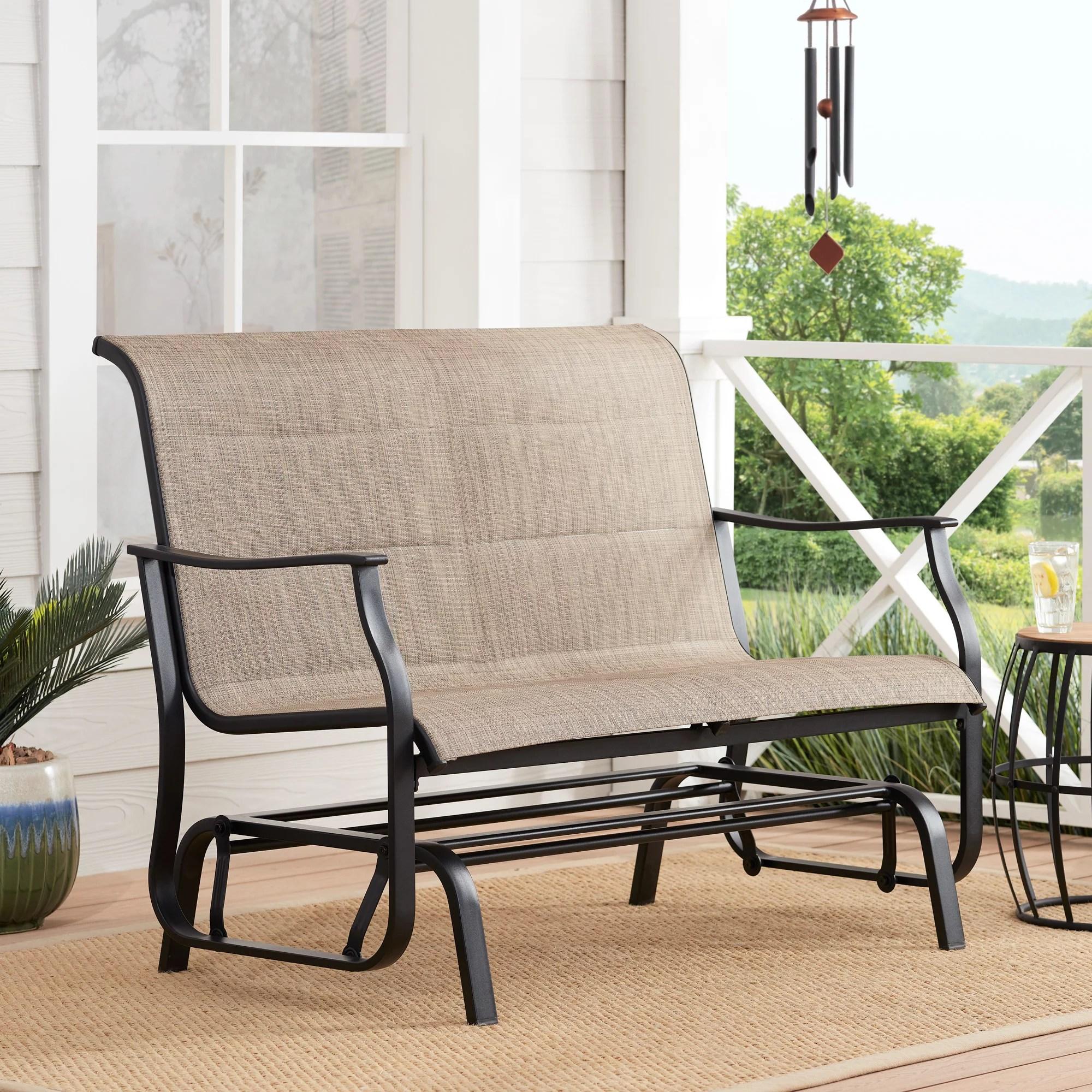 mainstays highland knolls outdoor patio glider bench