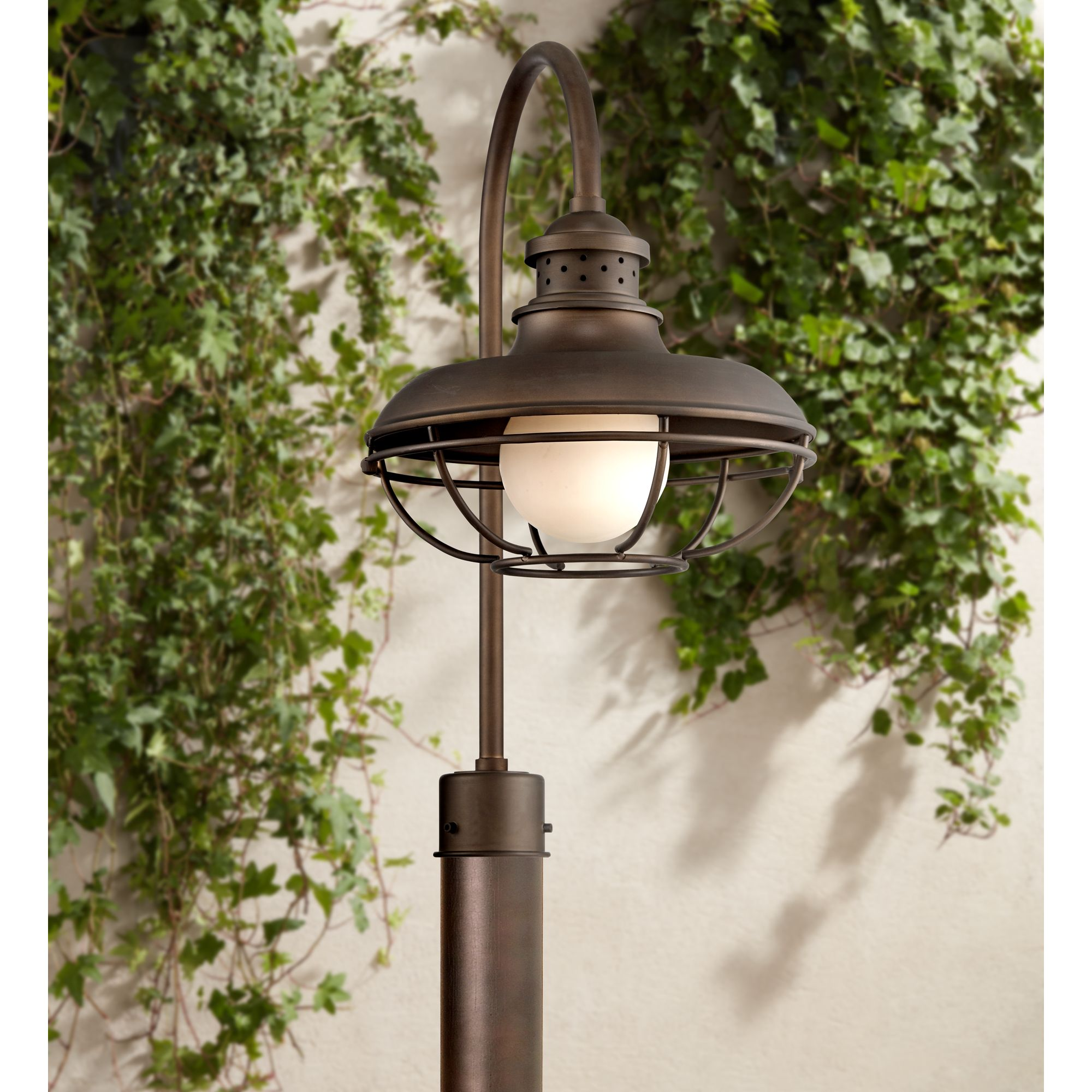 franklin iron works vintage outdoor post light oil rubbed bronze open cage 23 1 2 white glass orb for exterior garden yard porch walmart com