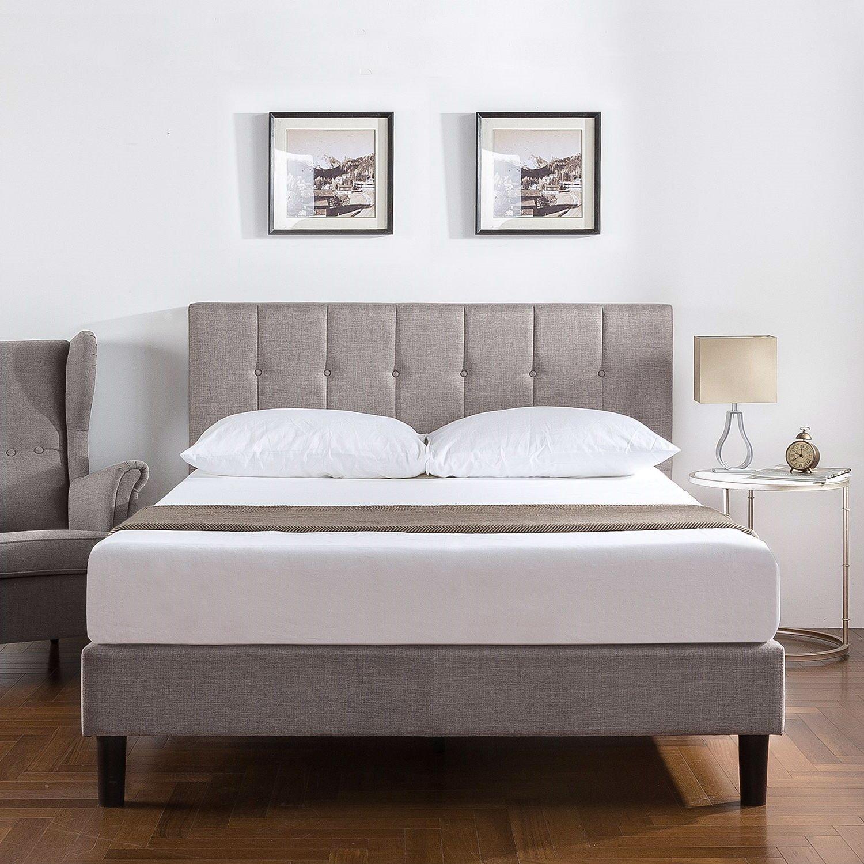 king medium grey upholstered platform bed frame with button tufted headboard