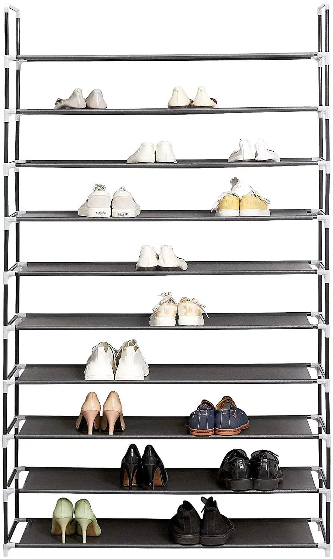 cribun 10 tiers shoe rack 50 pairs tall shoe rack organizer non woven fabric shoe storage cabinet black walmart com
