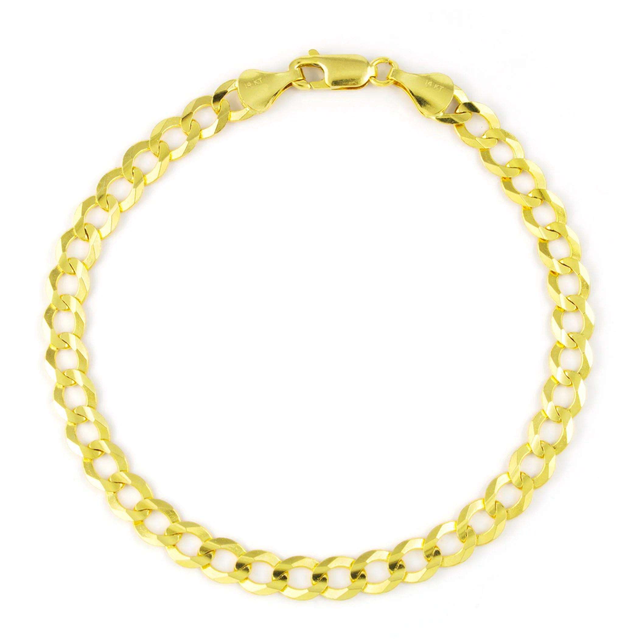 14k yellow gold solid 6mm curb cuban chain bracelet men or women 8 8 5 9