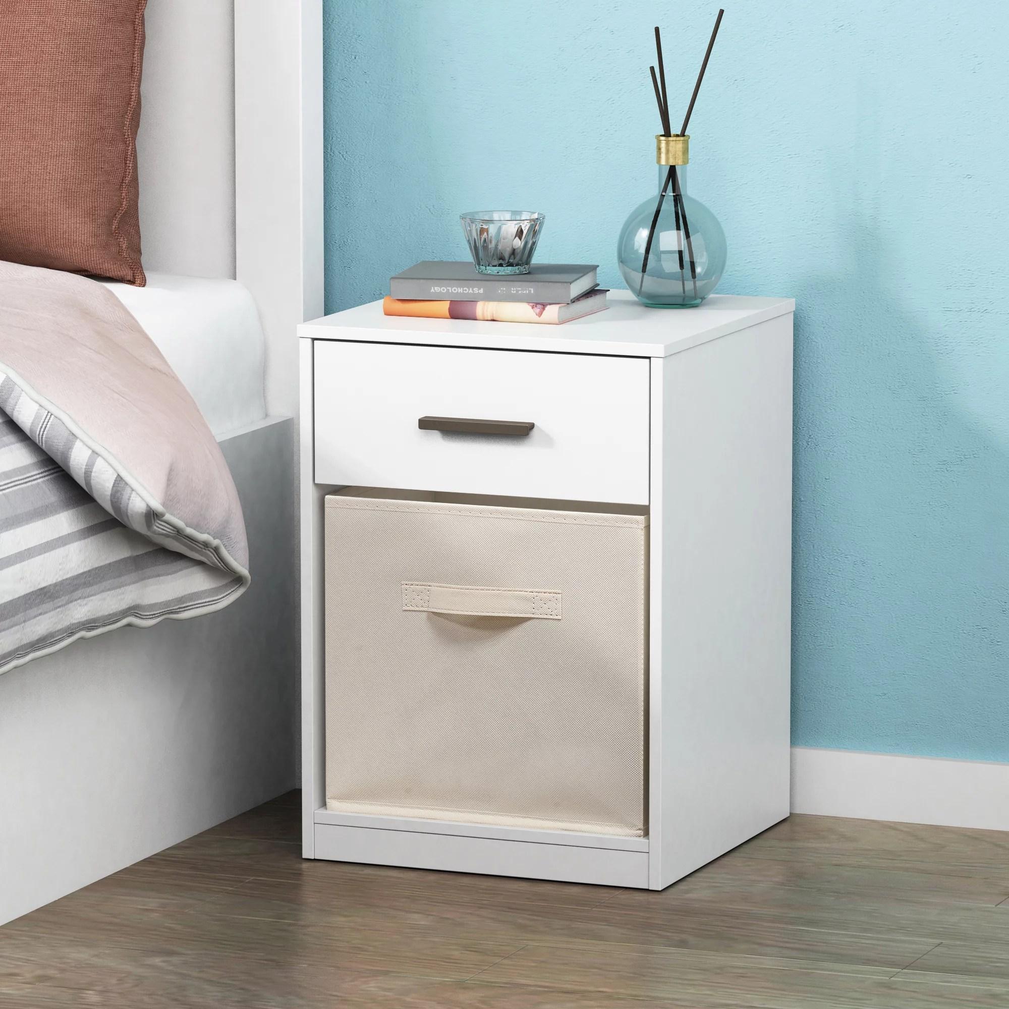 mainstays 1 drawer night stand with cube storage white finish