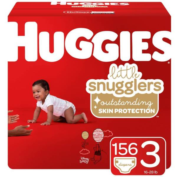 Huggies Little Snugglers Baby Diapers, Size 3, 156 Ct