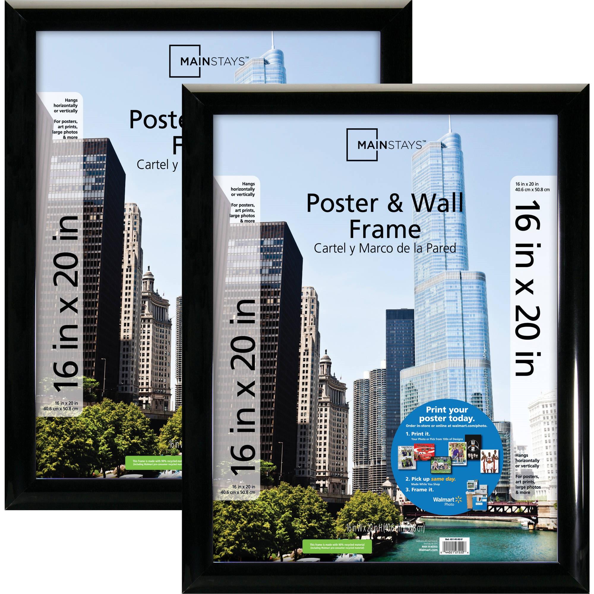 mainstays 16x20 trendsetter poster picture frame black setof 2