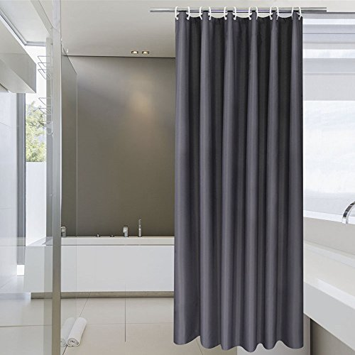 aoohome extra long shower curtain 72 x 84 inch solid fabric shower curtain liner for hotel waterproof dark grey