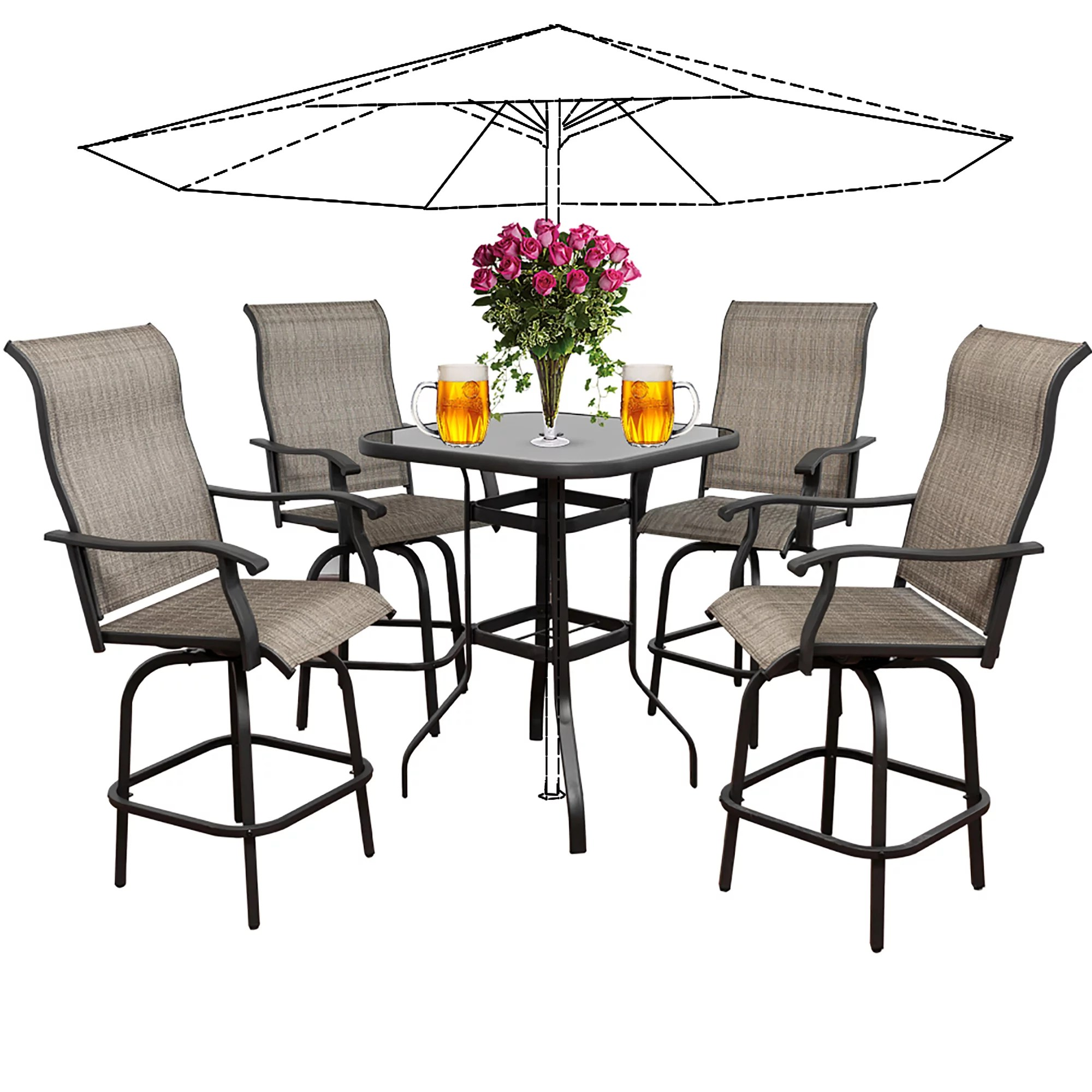 5pcs patio swivel bar set all weather outdoor furniture height bistro bar chair table set with 360 degree swivel suitable for yard backyard and