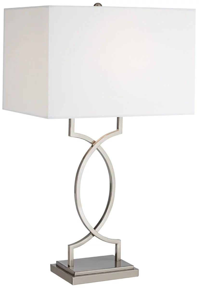 pacific coast lighting 87 207 99 modern elegance 30 inch 150 watt brushed nickel and steel table lamp portable light