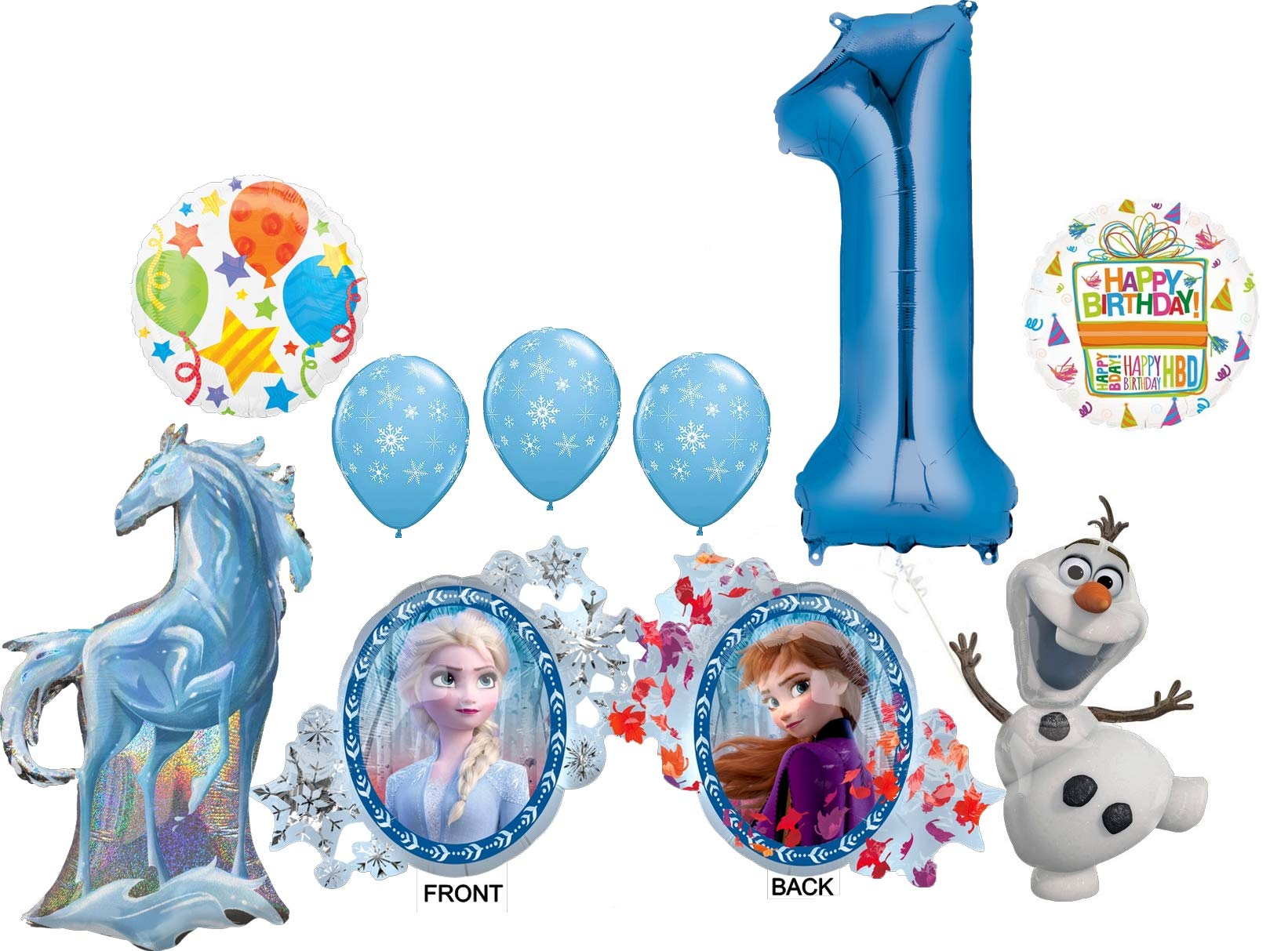 Frozen 2 Party Supplies 1st Birthday Elsa Anna Olaf And Nokk Balloon Bouquet Decorations Walmart Com Walmart Com