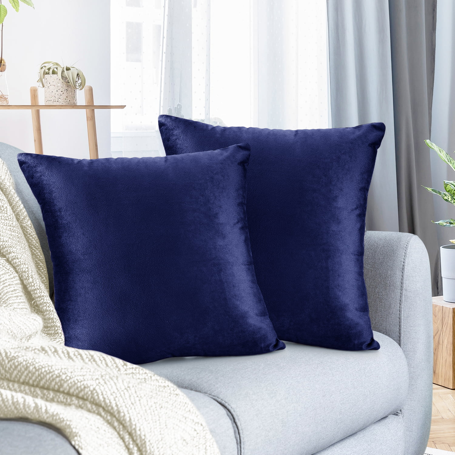 pack of 2 velvet throw pillow covers decorative soft square cushion cover 22 x 22 walmart com