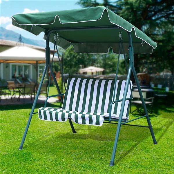 2 seater green outdoor patio garden swing cushioned canopy furniture hammock