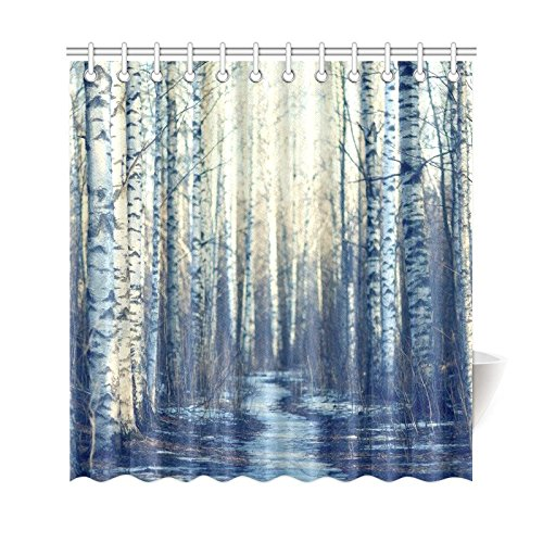 bpbop home bathroom winter white fabric birch tree decor shower curtain hooks 66x72 inches foggy forest road curtains