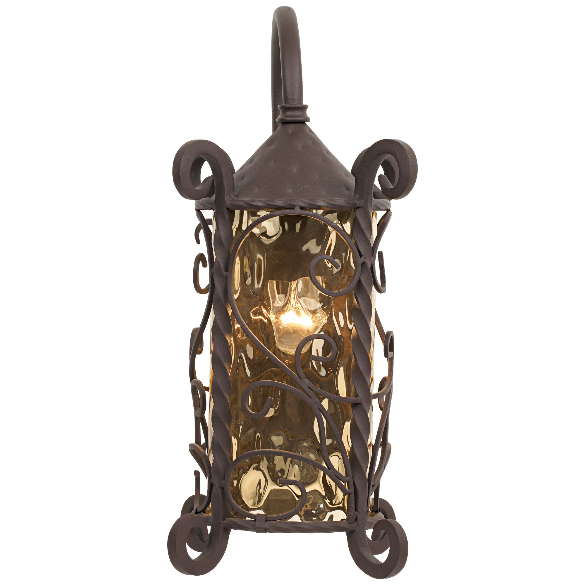 john timberland rustic outdoor wall light fixture dark walnut iron twists 18 1 2 champagne hammered glass for exterior house deck