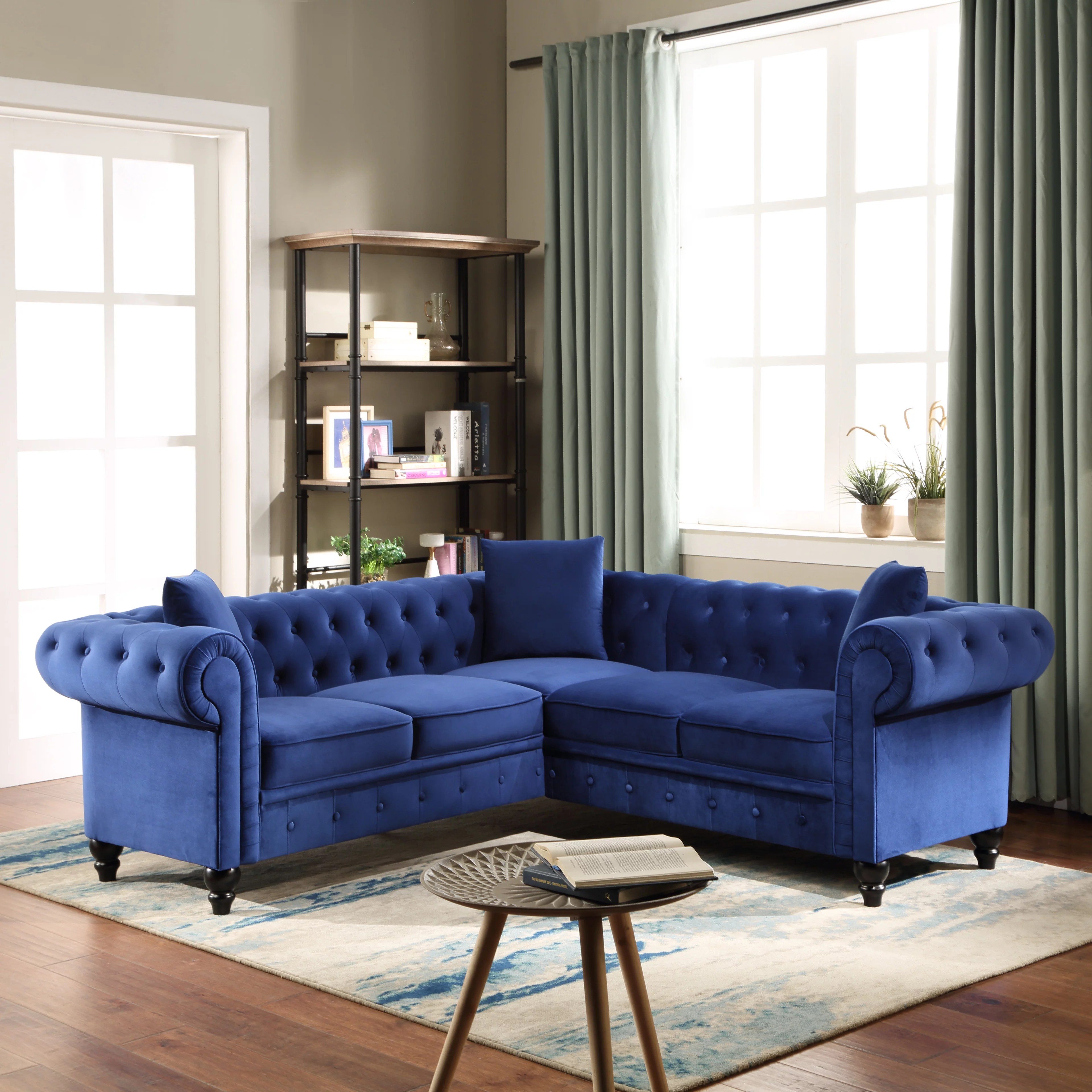 velvet tufted sofa for living room urhomepro mid century l shape sectional sofa classic chesterfield sofa with rolled arm and pillows elegant couch