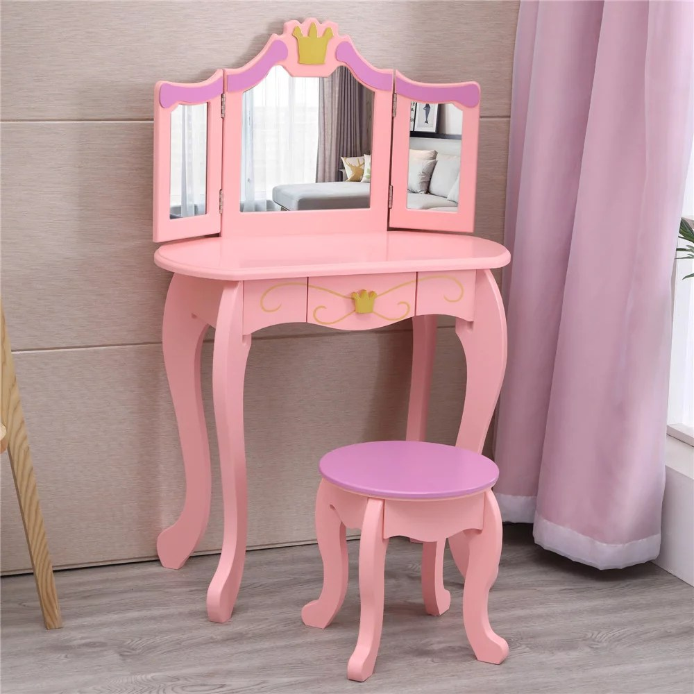 ktaxon kids pretend play kids vanity table and chair set princess dressing table set with stool mirror children s furniture pink