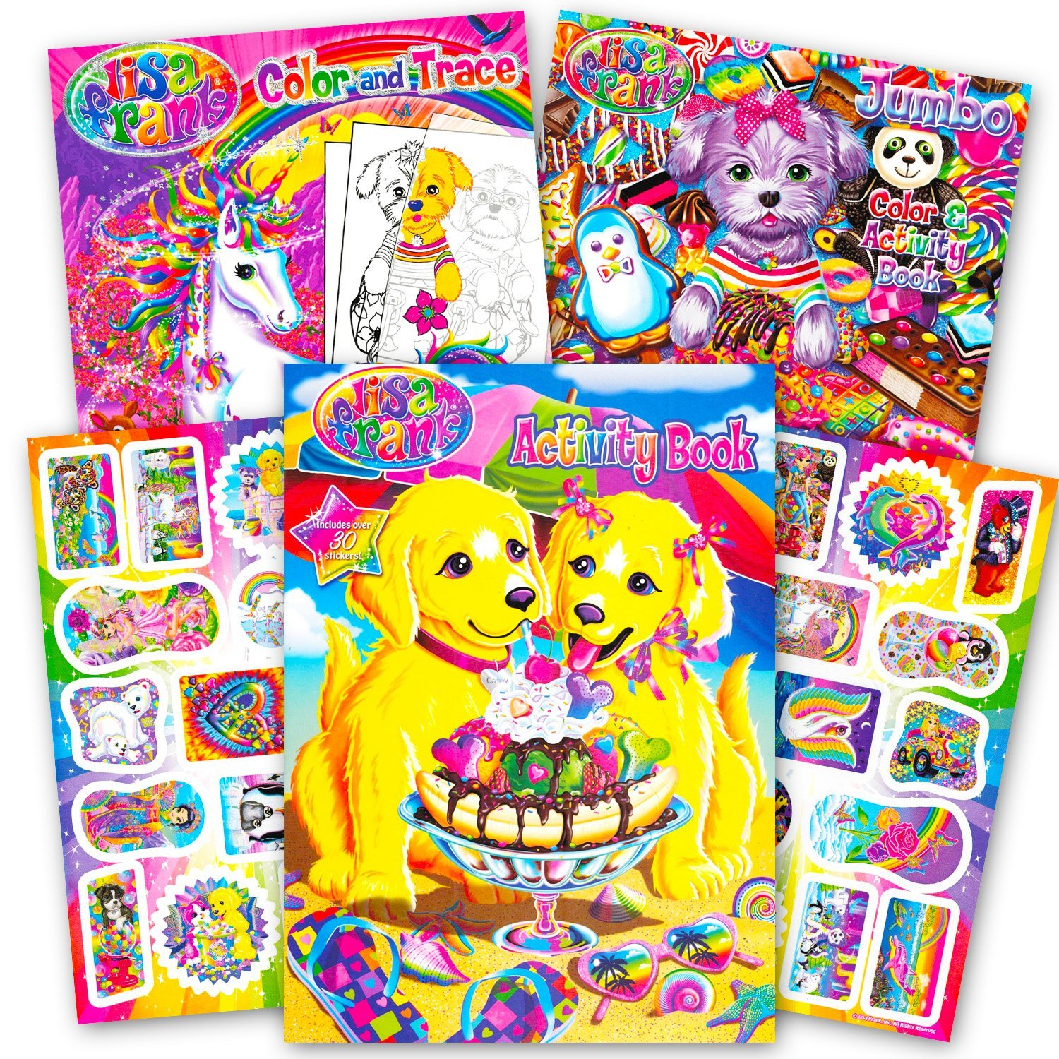 Lisa Frank Coloring Book And Stickers Super Set 3 Books