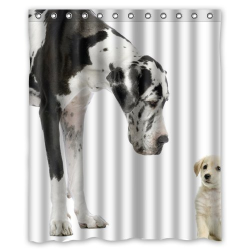 greendecor great dane black white dogs by honest kind waterproof shower curtain set with hooks bathroom accessories size 60x72 inches
