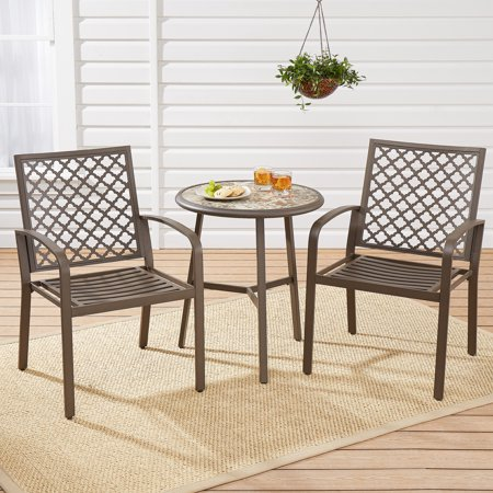 mainstays dalloway 3 piece outdoor patio bistro chair and table set