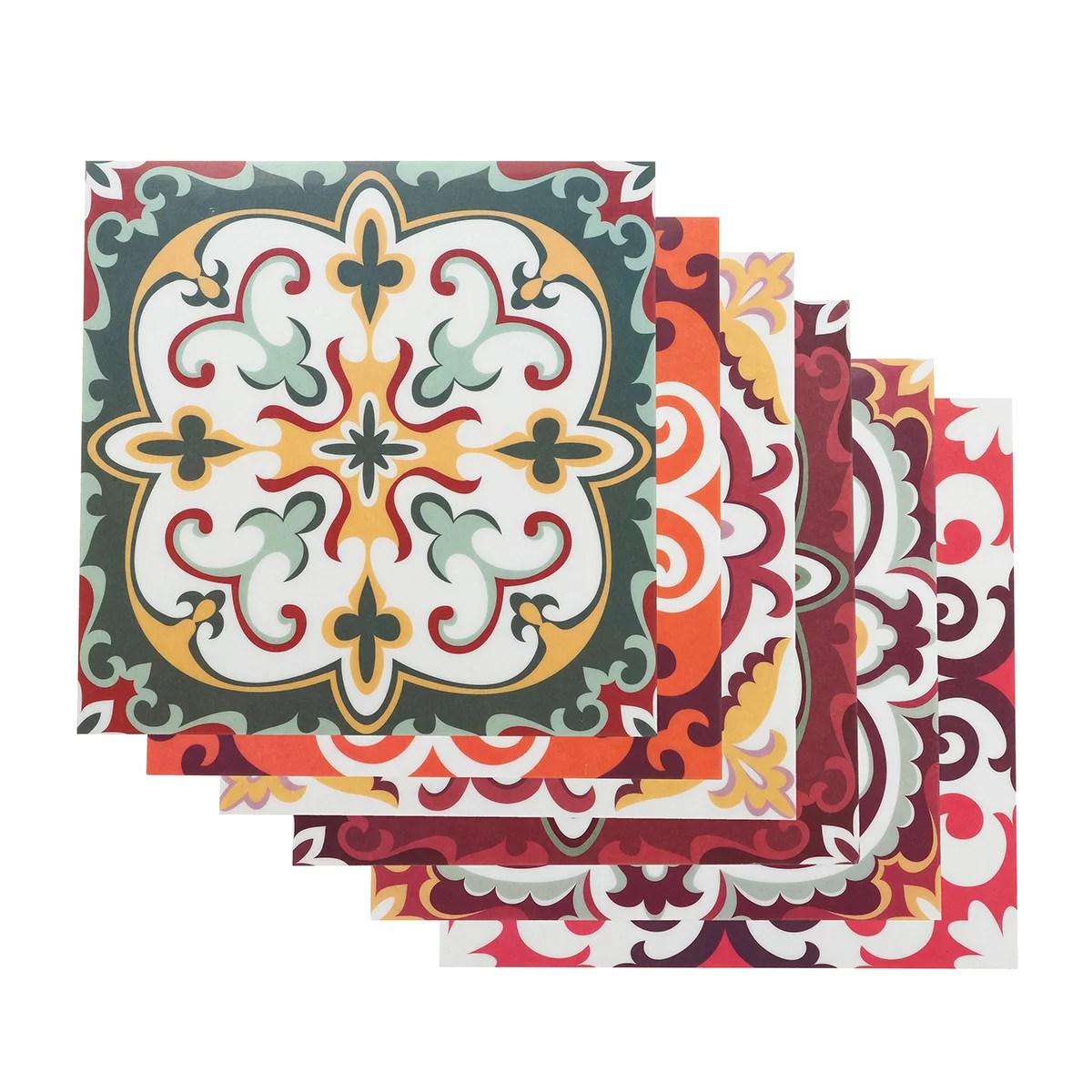 tile stickers kitchen backsplash bathroom vinyl waterproof peel and stick mexican talavera tile decal 6pcs 8 x 8 walmart com